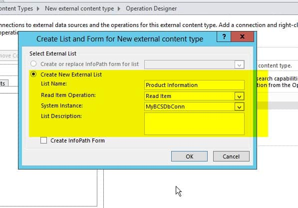 Create external content types for SQL Server in SharePoint 2016