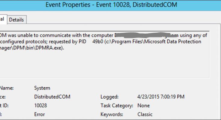 DCOM was unable to communicate error