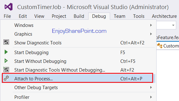 how to debug timer job sharepoint 2016