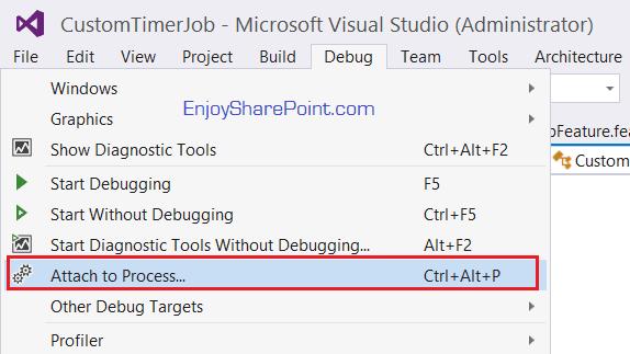 visual studio 2015 debug timer job sharepoint 2013