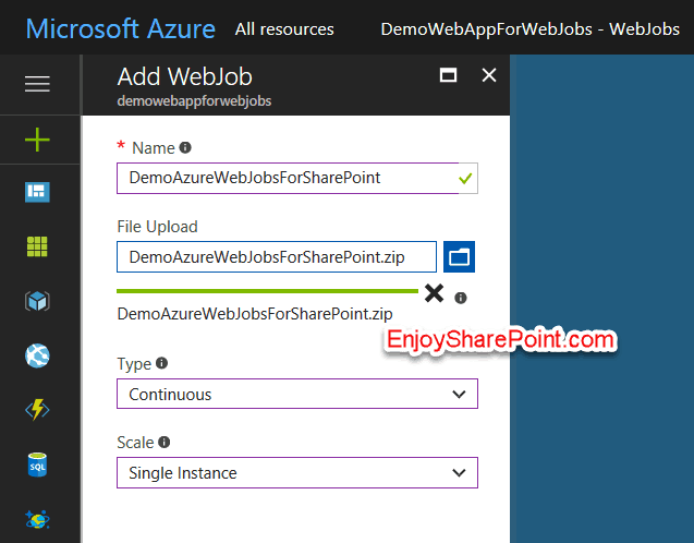 deploy WebJob to Microsoft Azure SharePoint Online