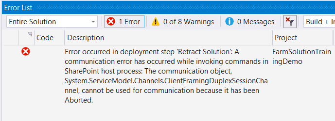 A communication error has occurred while invoking commands in SharePoint host process