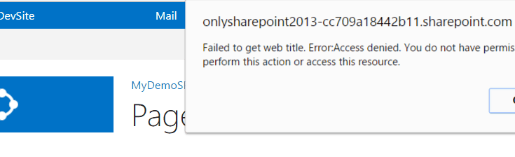 Failed to get web title Access denied