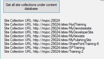 Retrieve all site collections under particular content databases sharepoint