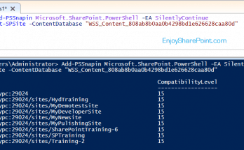 Retrieve all site collections under particular content databases using PowerShell and SharePoint 2016 server object model