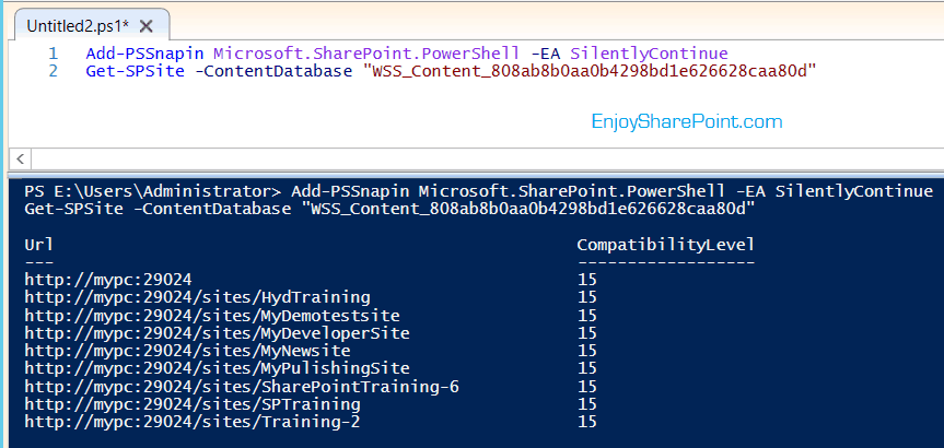 Retrieve all site collections under particular content databases using PowerShell