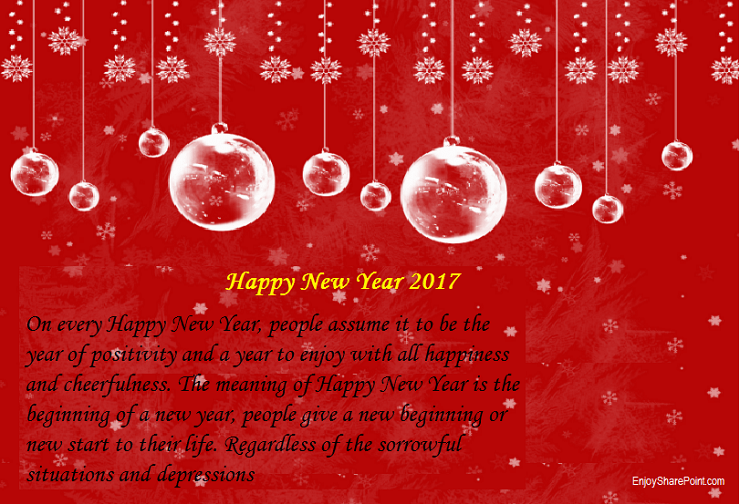 Wish you all a Happy New Year 2017