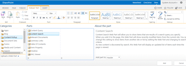jQuery news ticker using content search web part sharepoint 2016