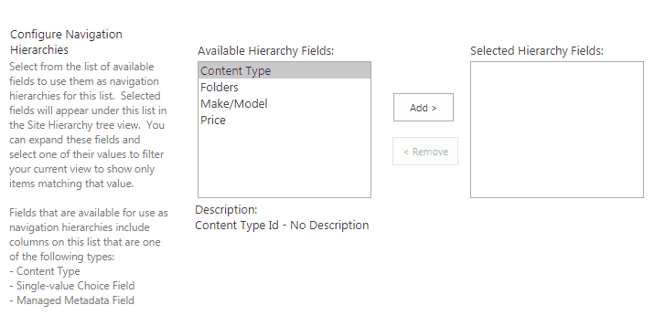 sharepoint 2016 metadata navigation and filtering