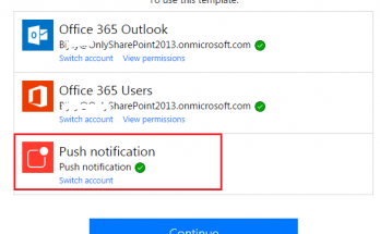 Failed to create connection for connection id while setting up push notification in Microsoft Flow in Office 365