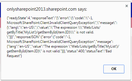 sharepoint online rest api The expression is not valid. Bad Request