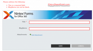 Required field validation in Nintex form for office 365