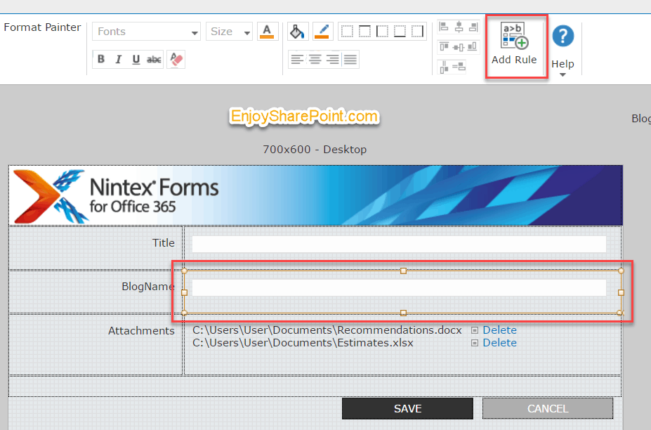 Nintex forms for Office 365 textbox validation