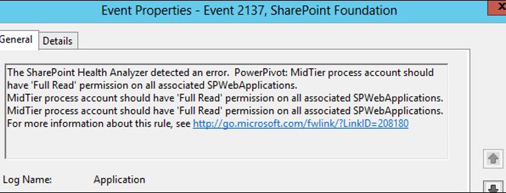 PowerPivot MidTier process account should have Full Read permission
