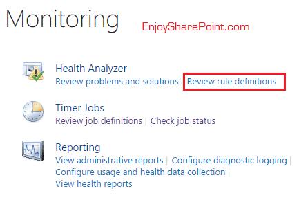The SharePoint Health Analyzer detected an error