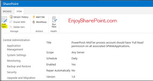 PowerPivot: MidTier process account should have Full Read permission on all associated SPWebApplications