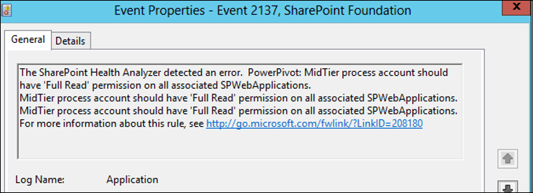 PowerPivot MidTier process account should have Full Read permission on all associated SPWebApplications