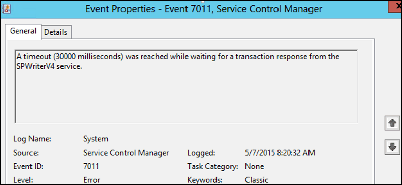 timeout 30000 milliseconds waiting for a transaction response from the servicename service