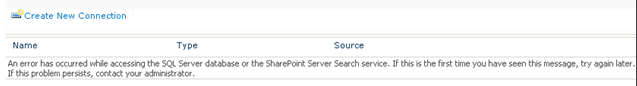 An error has occurred while accessing the SQL Server database or the SharePoint Server Search service