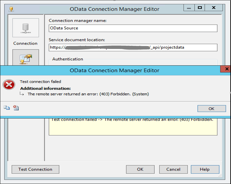 The remote server returned an error: (400) Bad Request error in ssis odata source connector