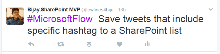 Save tweets that include the specific hashtag to a SharePoint list microsoft flow