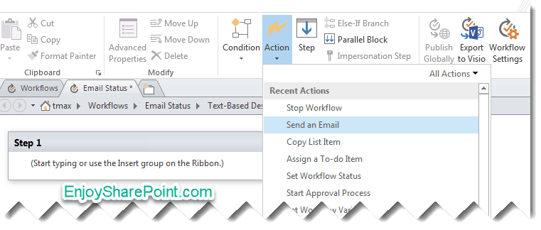 send email in workflow sharepoint 2013