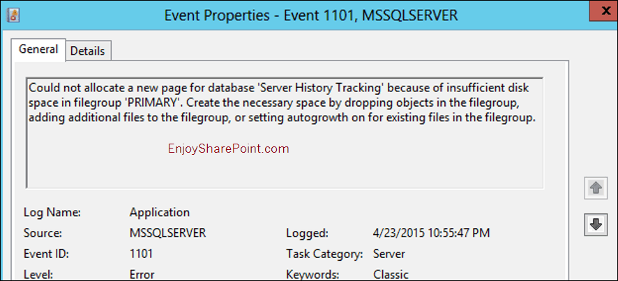 Can not allocate a new page for database Server History Tracking