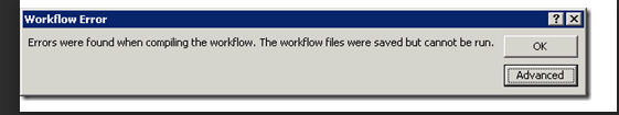 The workflow files were saved but cannot be run