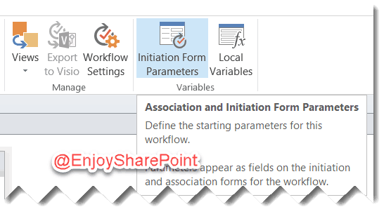 SharePoint 2013 site workflow Initiation Form Parameters
