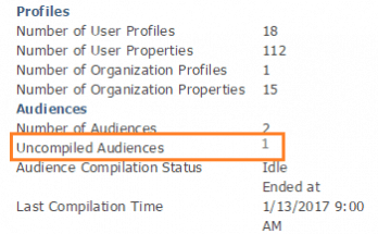 Uncompiled audiences message in user profiles in SharePoint admin center in SharePoint Online