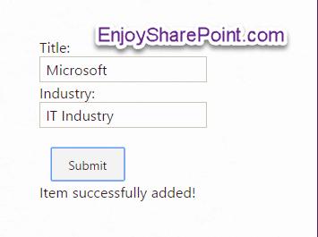 SharePoint Online Insert Item to SharePoint list using Rest API
