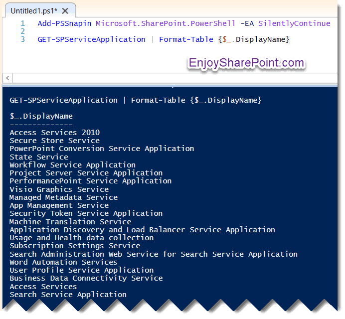 get service application powershell sharepoint 2013