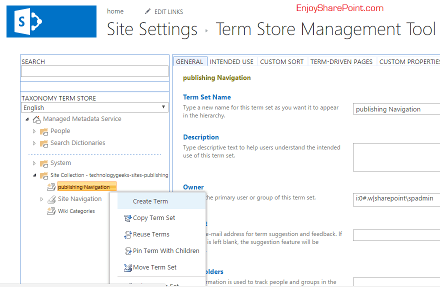 SharePoint 2016 responsive navigation menu managed metadata
