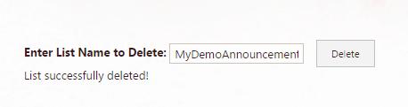 delete list in sharepoint using javascript