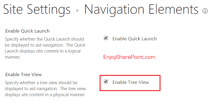 sharepoint online enable tree view in Office 365 sharepoint online