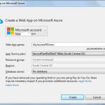 Creation of Microsoft Azure Web App failed