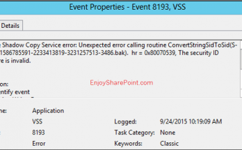 Event ID 8193 - Volume Shadow Copy Service Operations