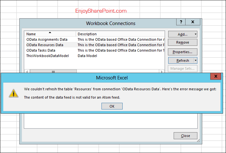 We could not refresh the table resources from connection odata resources data