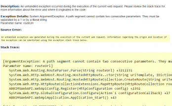 A path segment cannot contain two consecutive parameters error in Web API project