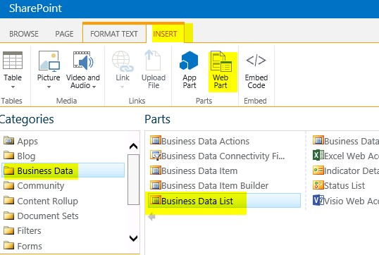 business data related list web part sharepoint 2013