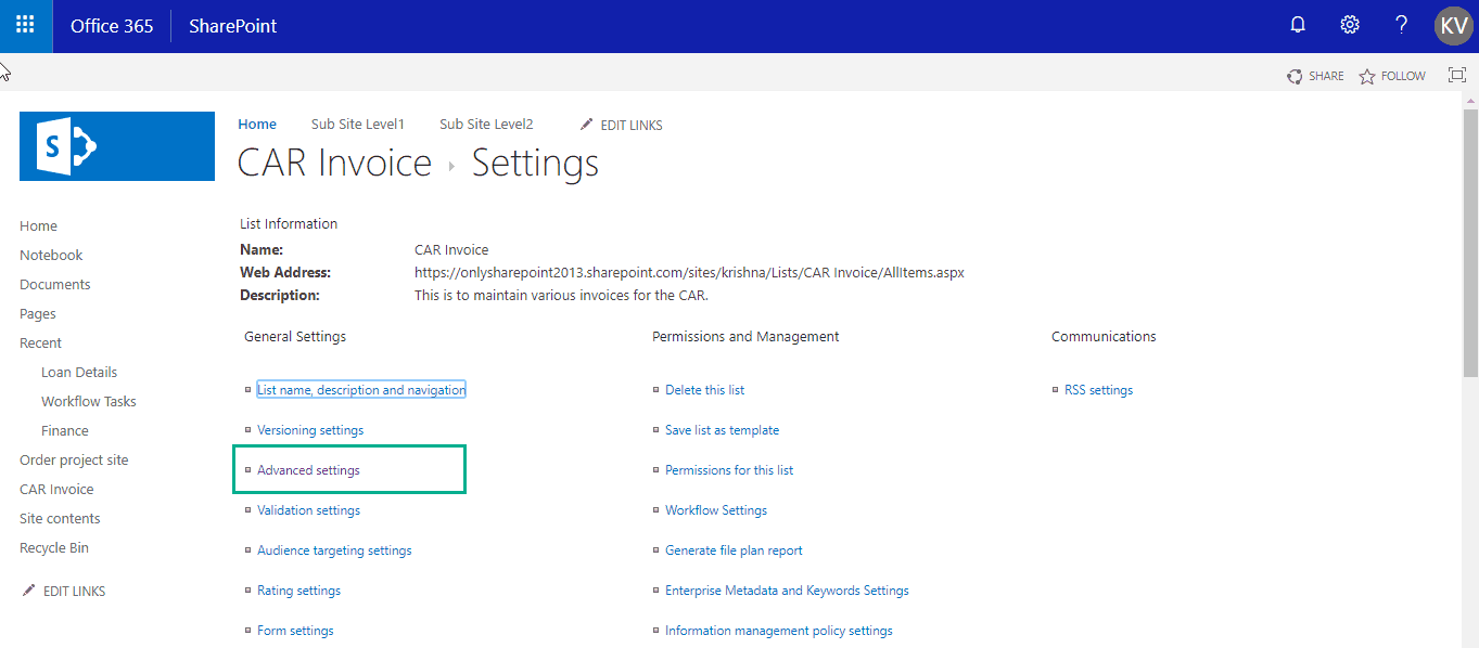 change list settings sharepoint online