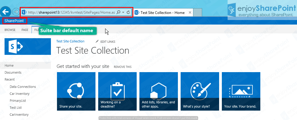 change suite bar Title sharepoint 2013
