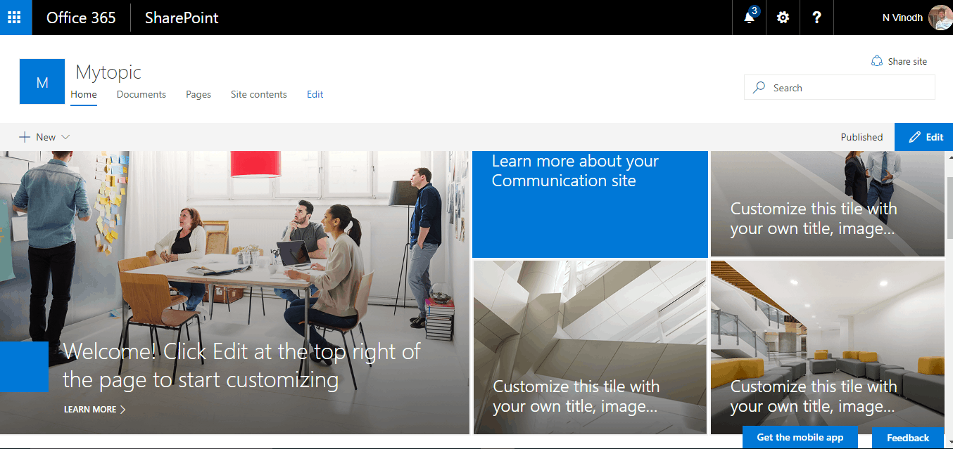 Communication Site SharePoint online