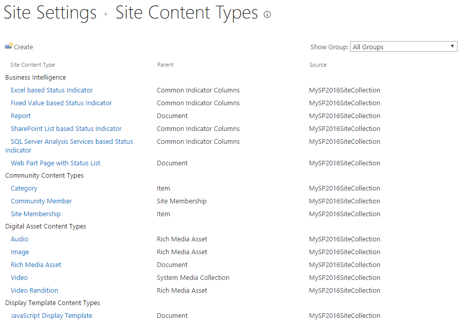 content type in SharePoint 2016