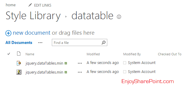 Bind SharePoint online list data using jQuery datatable