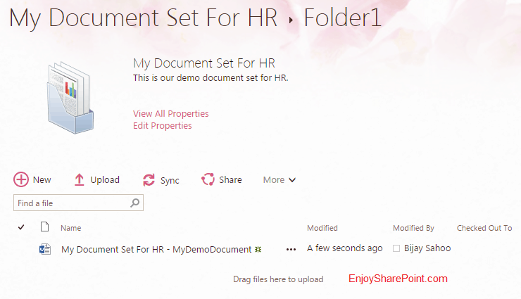 How to add default content to document sets content type in SharePoint Online Office 365?