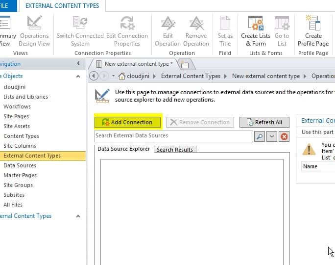 create external content type in sharepoint online