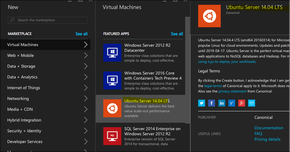 create linux virtual machine windows azure