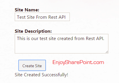 create sharepoint online site using rest api