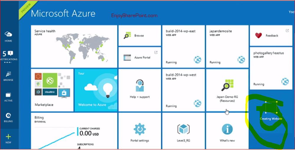 create web app in azure portal